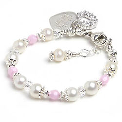 Delightful White Pearl & Pink Crystal Bracelet with Heart Charm