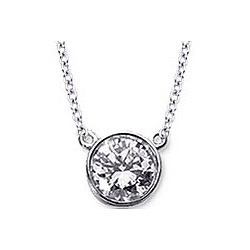Diamond Flat Loops 14k White Gold Solitaire Pendant