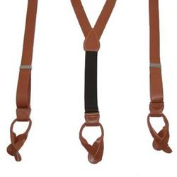 Smooth Leather Button-End Suspenders