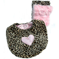 Pink Heart Cheetah Bib and Burp Set