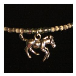 Hand Beaded Sterling Silver Horse Charm Necklace