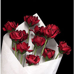 First Anniversary Dozen Red Paper Roses Bouquet