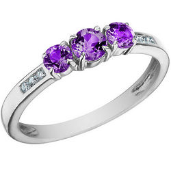 Three Stone Amethyst Ring with Diamonds