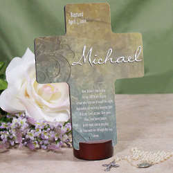 Personalized Baptized Name and Date Prayer Cross