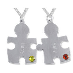 Personalized Sterling Silver Couple's Puzzle Necklaces