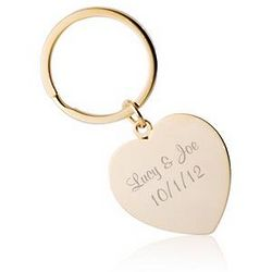 Personalized Gold Heart Key Ring