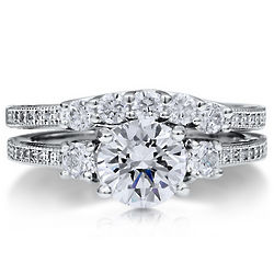 Sterling Silver 3-Stone Cubic Zirconia Bridal Ring Set