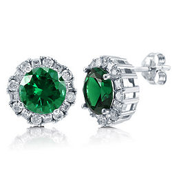 Round Cut Emerald CZ Sterling Silver Halo Stud Earrings