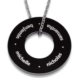 Black Stainless Steel Family Name Engraved Wide Disc Necklace