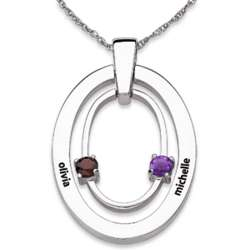 Sterling Silver Family Genuine Birthstone and Name Oval Necklace