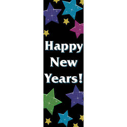 New Year's Stars Personalized Vertical Banner
