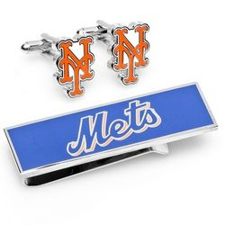 New York Mets Cuff Links and Money Clip Gift Set