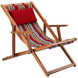 Feista Red Stripe Deck Chair with Headrest