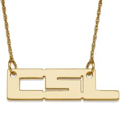 14K Yellow Gold Bold 3 Initial Necklace