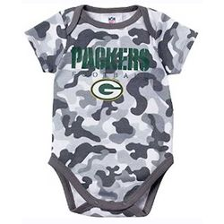 Newborn's or Infant's Green Bay Packers Gray Camouflage Bodysuit