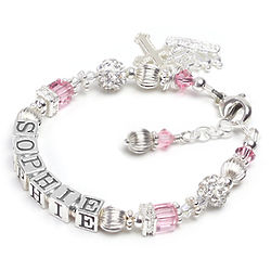 Princess Name Bracelet in Sterling and Crystal