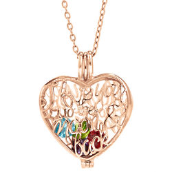 I Love You To The Moon & Back Rose Gold Locket with Birthstones