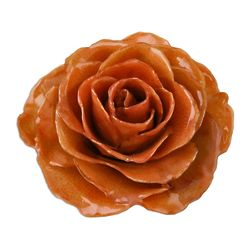 Rosy Mood in Orange Natural Rose Brooch Pin