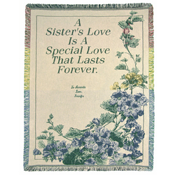 Personalized Blue Floral Sister Throw