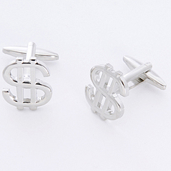 Dollar Sign Cufflinks with Personalized Case