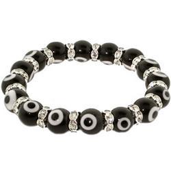Black Glass Bead Evil Eye Bracelet