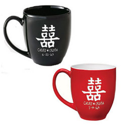 Personalized Chinese Double Happiness Bistro Mug