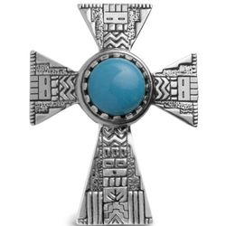 Turquoise and Sterling Silver Cross Pendant