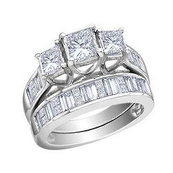 Princess Cut Diamond Engagement Ring and Wedding Band