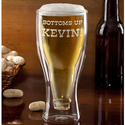 Personalized Bottoms Up Beer Bottle Glass