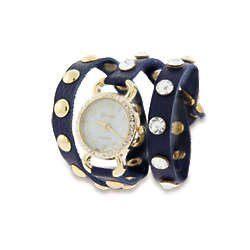 Blue Leather with Gold Cubic Zirconia Studs Wrap Around Watch