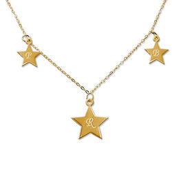 18k Gold Plated Sterling Silver Star Initial Necklace