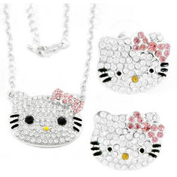 Kitty Crystal Necklace and Earrings Set