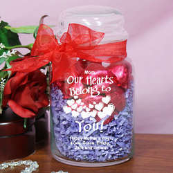 Engraved Our Hearts Belong to You Glass Treat Jar