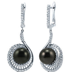 Round Shaped Black Faux Pearl Sterling Silver Dangle Earrings