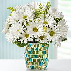 Daisy Garden Bouquet in Mosaic Candle Holder