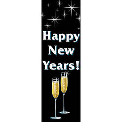 Personalized New Year's Flutes Vertical Vinyl Banner