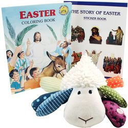 Lil' Prayer Buddy Stuffed Lamb and Easter Books Gift Bag
