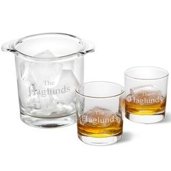 Personalized Small Ice Bucket and 2 Lowball Glasses