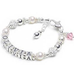 Graceful Child's Silver and CZ Name Bracelet