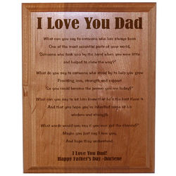 """I Love You Dad"" Personalized Father's Day Wood Plaque"