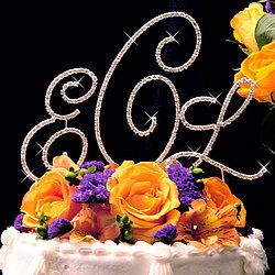 Gold Crystal Monogram Cake Topper