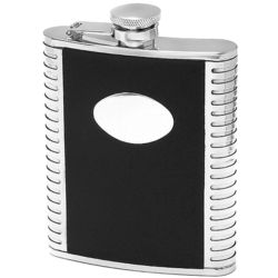 Black Leather & Stainless Steel Engraved Flask