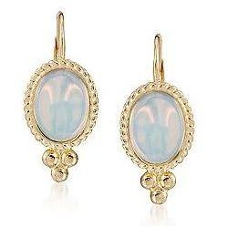 Opal Twist Edge Gold Earrings