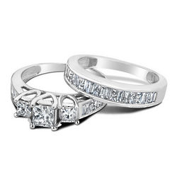 Princess Cut Three Stone Diamond Engagement Ring and Wedding Band