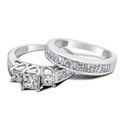 Princess Cut Three Stone Diamond Engagement Ring and Wedding Band