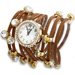Brown Multi Strand Cubic Zirconia Studed Wrap Around Watch
