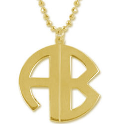 Personalized 18k Gold Plated Print Monogram Necklace
