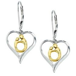 Two Tone Mother and Child Heart Earrings