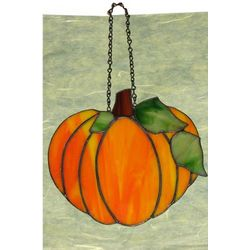 Stained Glass Harvest Pumpkin Window Hanging