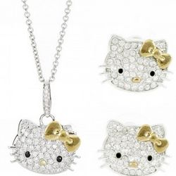 Kitty Crystal Necklace and Earrings with Gold Bow Set